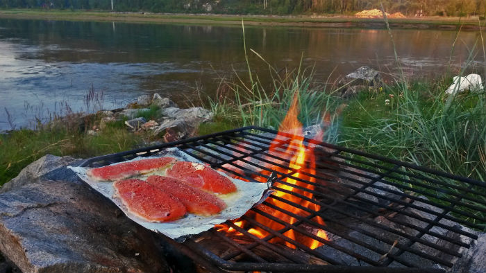 salmon on grill near lake